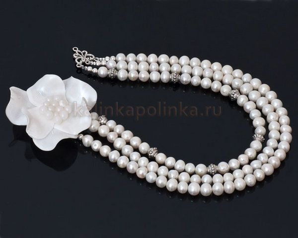 how to make pearl flower necklace