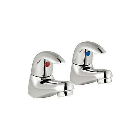 Cooke & Lewis Wave Chrome Hot & Cold Basin Pillar Tap, Pack of 2 | Departments | DIY at B&Q