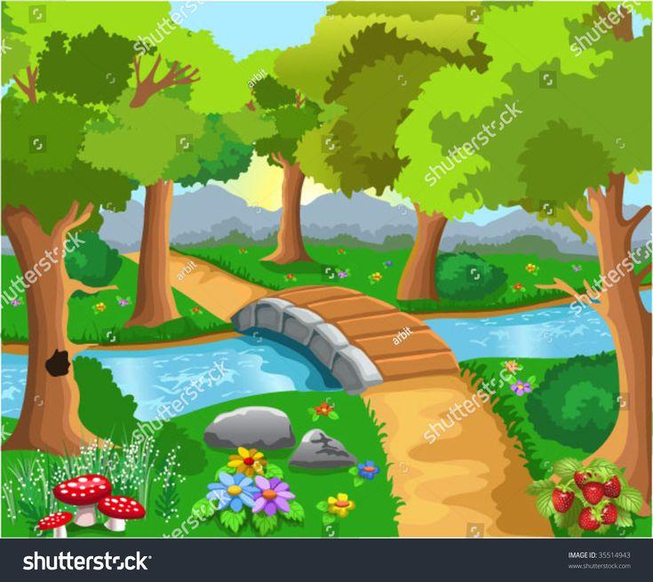 Vector de stock (libre de regalías) sobre bosque de caricaturas35514943