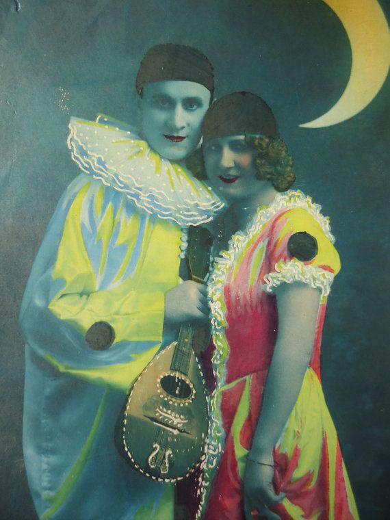 Antique Pierrot postcard  Colombine clown suit by LizKnijnenburg