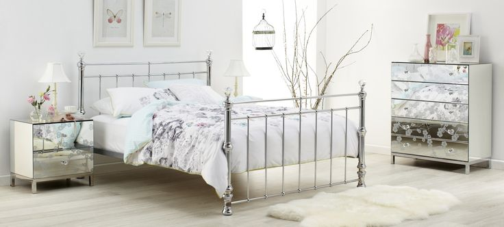 Crystal pretty mirror finish posted bedroom furniture suite with floral motif, pastel printed