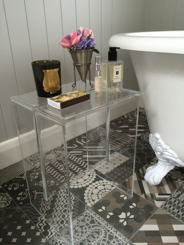 My ensuite using gorgeous Patricia Urquiola tiles, Kartell stool, Cheshire bath.