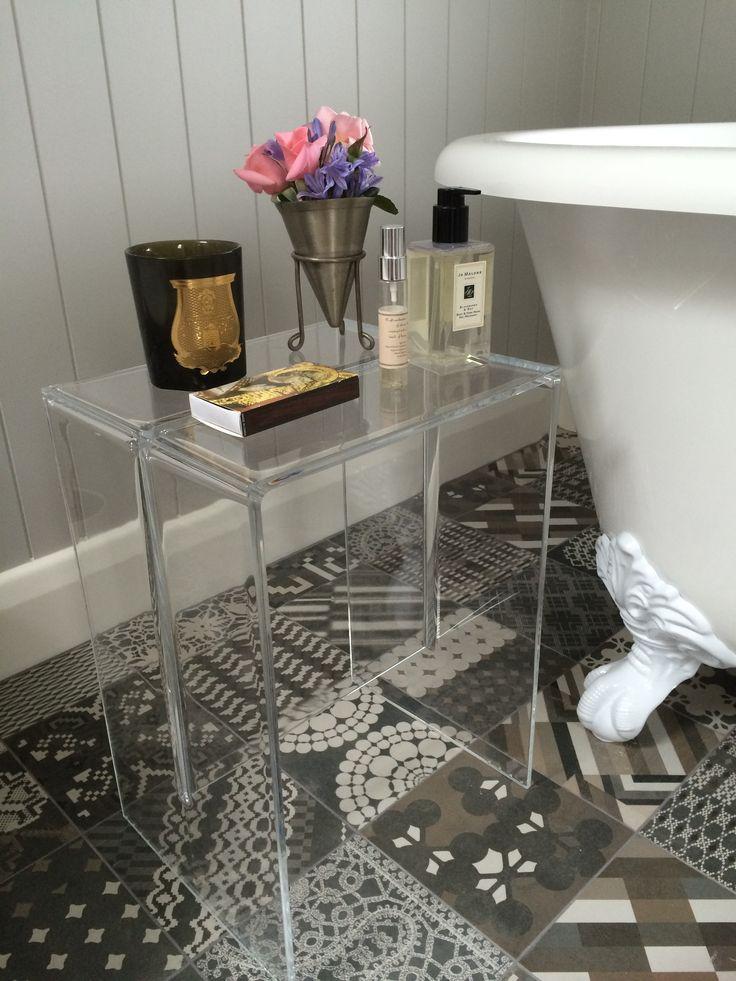 My ensuite using gorgeous Patricia Urquiola tiles, Kartell stool, Cheshire bath.