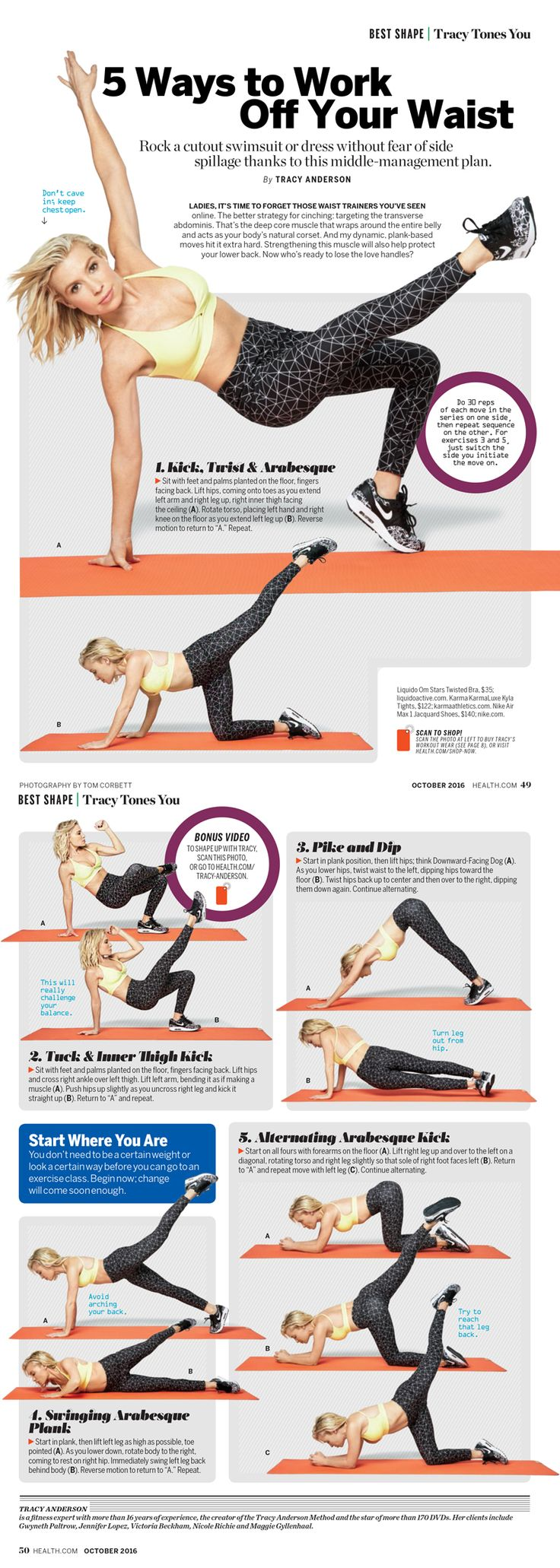 5 Ways to Work Off Your Waist by Tracy Anderson in Health mag