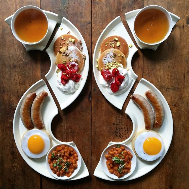 Friday: A meandering river of breakfast! To finish off my London Design Festival Week in breakfast.  Duck egg crumpets, sausage, beans, pancakes with yoghurt and raspberries and delicious tea  The plates are by @billylloydesign based in Kennington, each set makes up a complete circle but can be rearranged into many configurations. #londondesignfestival #ldf15 #ldf2015 #SymmetryBreakfast