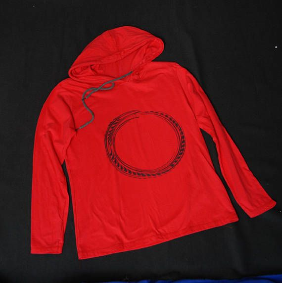 ouroboros hand painted long sleev hooded tee
