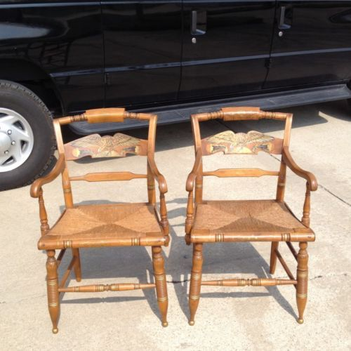 Beautiful Pair Of Ethan Allen Decorated Hitchcock Rush Seat Arm Chairs
