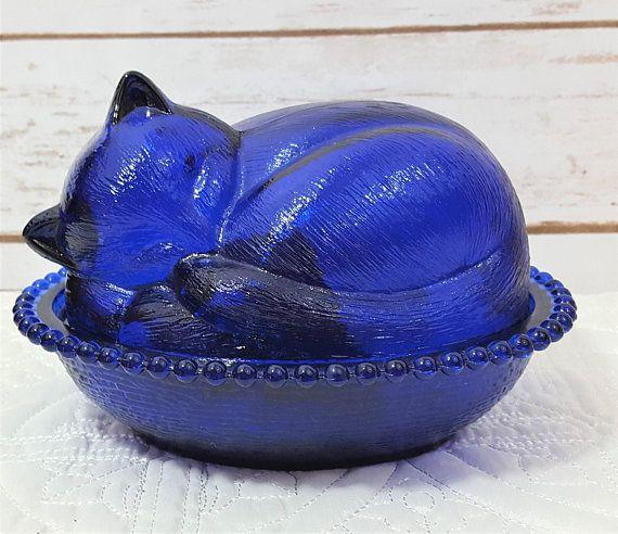 Cobalt Blue Glass Cat Covered Dish Vintage Glass Bowls Cobalt