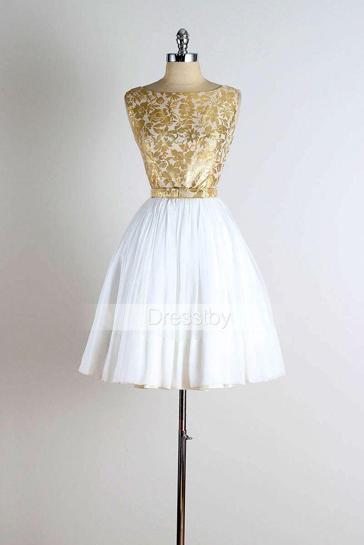Cute Retro short white prom dress, cute homecoming dress