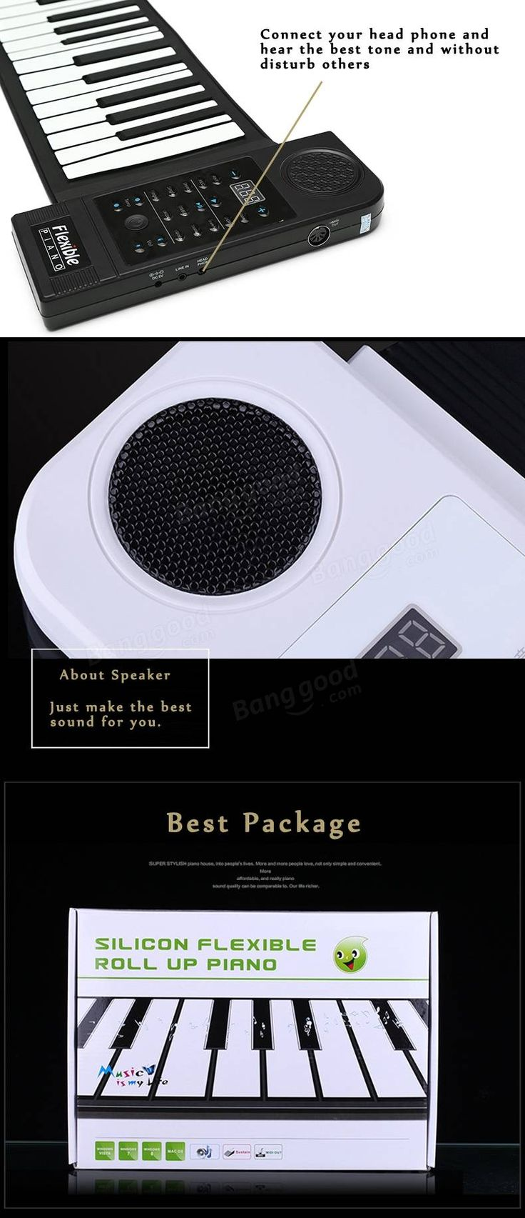 KONIX PN61S 61 Key Silicone Portable Roll Up Piano MIDI Keyboard Sale…