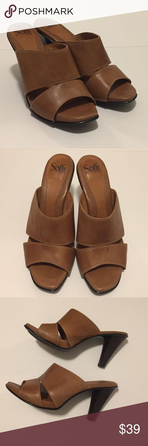 SOFFT Open Toed Heels Size 9M These are in excellent shape, beautiful camel color, soft leather and cushioning to keep the feet comfortable and happy.  Size 9M Sofft Shoes Heels