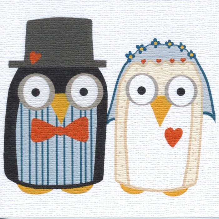 """""""Wedding Owls"""" Don't they look sweet, I bet they lived happily ever-after. Blank inside"""