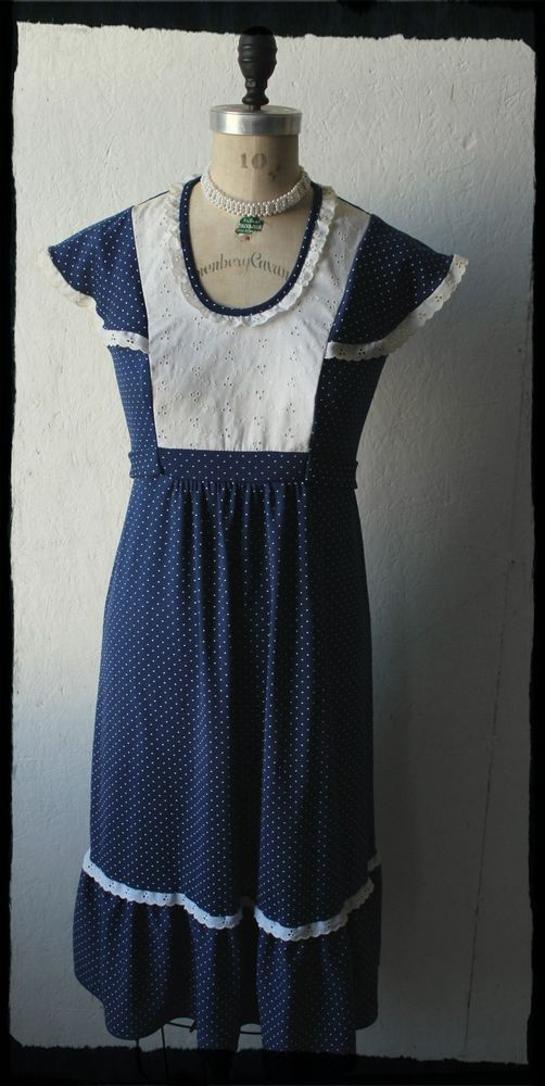 Vintage Blue and White Polka Dot Cotton Boho Festival Dress Size M  #LuciFellini #Sundress #Everyday