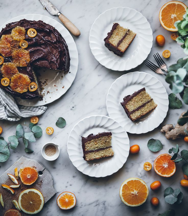 Citrus ginger cake with honey chocolate frosting