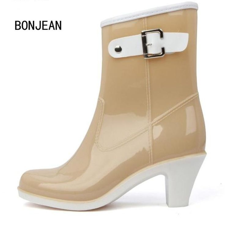 >> Click to Buy << Women Rain Boots Ankle Shoes Female Short High-Heeled Shoes Boots Buckle Rain Shoes Water Rubber Shoes For Woman #Affiliate