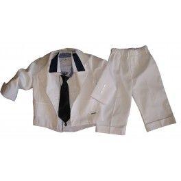 Garnitur dla chłopców-biały. Elegancki ze spodniami na kant i z mankietem. Ubranko dla dziecka nie tylko do chrztu.