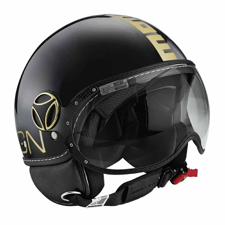 Momo FGTR Fighter Classic - Gloss Black / Gold Classic Momo Fighter helmet,  historically inspired