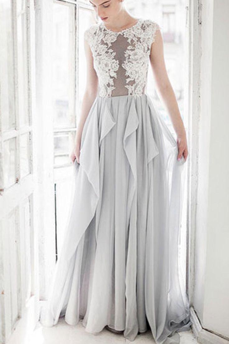Chiffon prom dress, ball gown, beautiful grey lace chiffon long dress for prom 2017