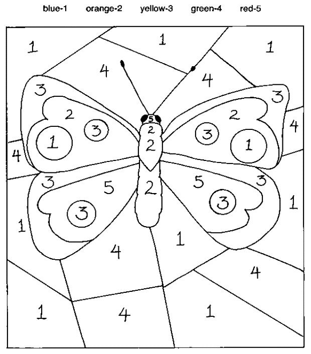 Easy Color By Number For Preschool And Kindergarten Butterfly Coloring Page Spring Coloring Pages Kindergarten Colors