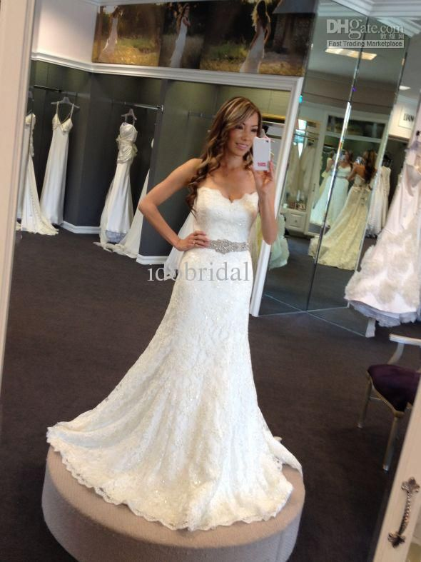 Wholesale 2013 New Arriva Strapless Strapless A-line Crystal Sexy Lace Wedding Dress Bridal Gown, Free shipping, $168.0-176.96/Piece   DHgate