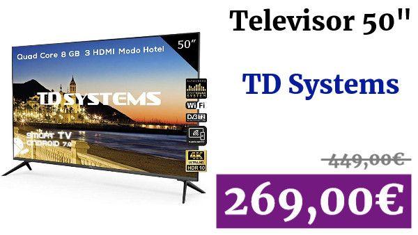 Televisor Led 50 Pulgadas Ultra Hd 4k Smart Td Systems K50dlx9us