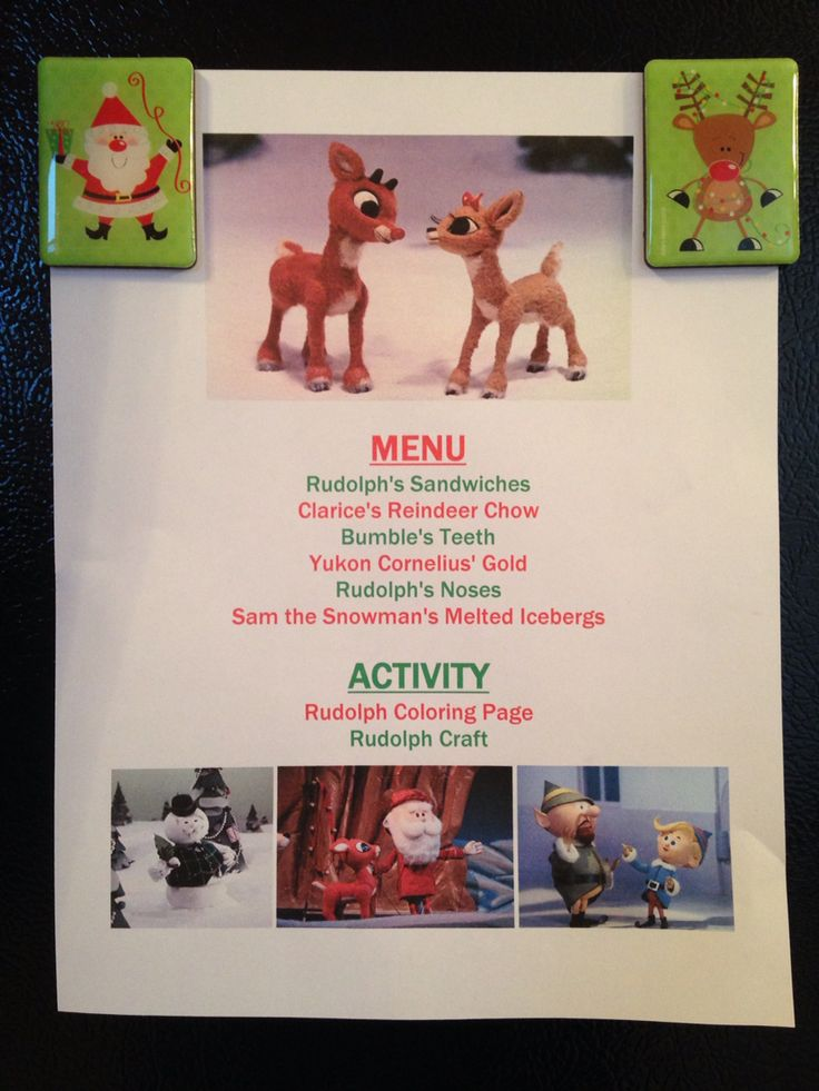 Rudolph the Red Nosed Reindeer Menu - Rudolph the Red Nosed Reindeer Movie Night - Family Movie Night - Christmas Movie Night