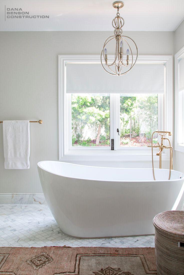 Luxurious Mediterranean Modern Style Bathroom Design with Freestanding Tub by Dana Benson Construction