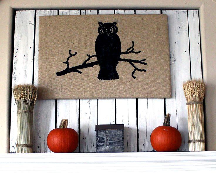 Burlap Owl Wall Art - Halloween - The Graphics Fairy