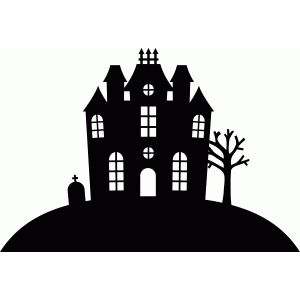haunted house silhouettes coloring pages - photo#34