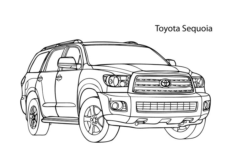 Super car Toyota Sequoia coloring page, cool car printable