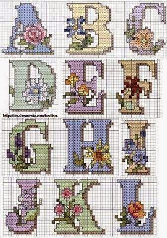 Σχέδια για γράμματα του αλφαβήτου κεντημένα σταυροβελονιά   Cross stitch floral alphabet patterns         Μπορείτε να τα συνδυάσετε και με...