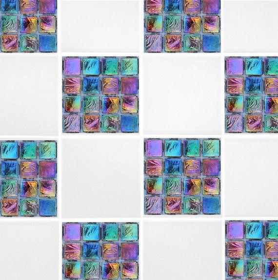 """Rainbow Mosaic Tile Transfers Purple Green Blue 4"""" x 4"""" Printed Waterproof Vinyl Tile Stickers Pack of 10"""