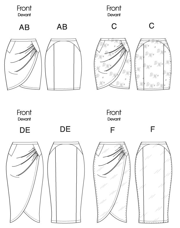 Vogue Patterns 8711 misses skirt Fitted, above mid-knee or mid-calf length, mock wrap skirts A, B, C, D, E, F have gathered front, yoke, elasticized waistband and stitched hem. A, D: contrast yoke and waistband. F: button trim.
