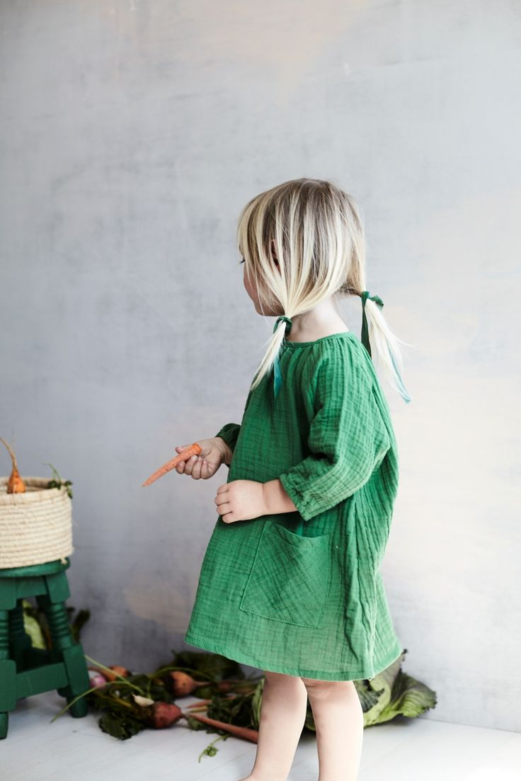 littles | toddlers | low pigtails | forest green dress | simple dresses | hair ribbons | veggies | blondes