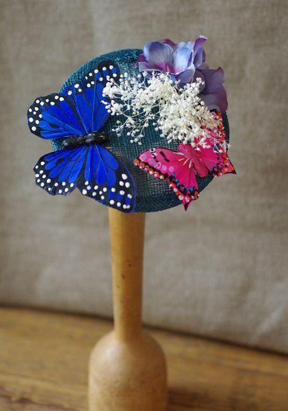 Tocados - Schmetterling Hütchen Fascinator blau pink petrol - hecho a mano por billies en DaWanda