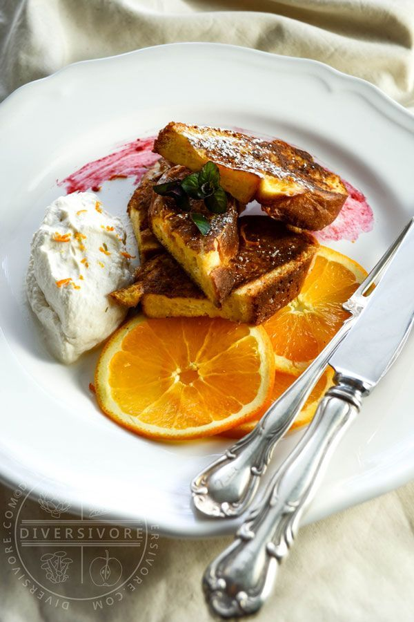 Seville orange brings intensity of flavour to this delectable, not-too-sweet French toast.  Add in maple whipped cream for a perfect (and surprisingly guilt-free) brunch.