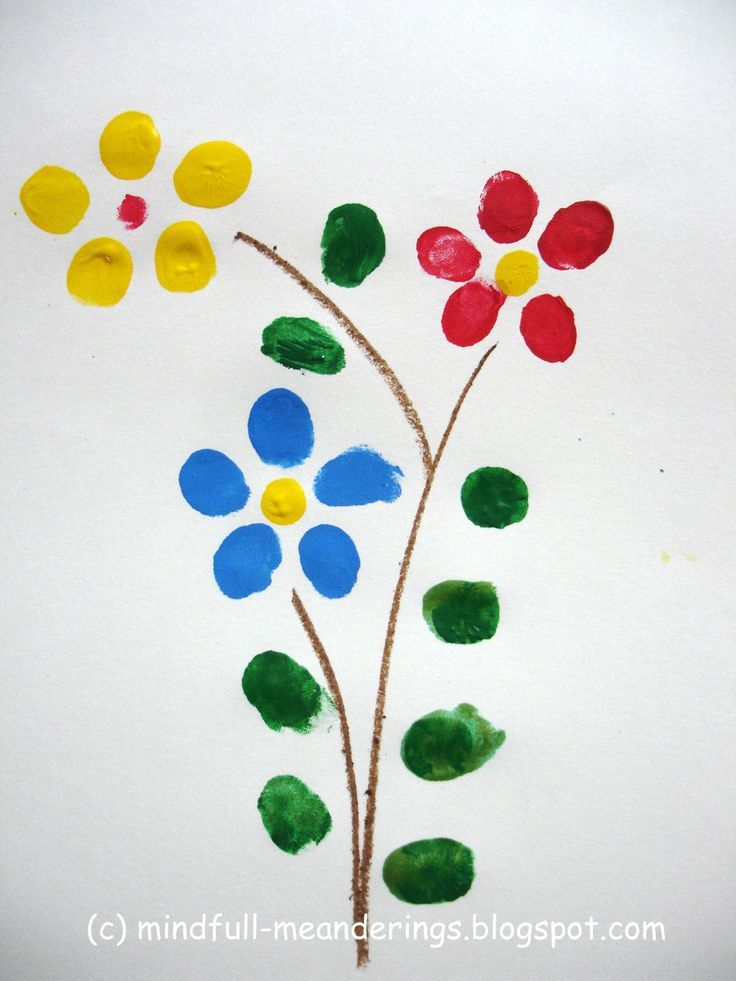 Finger print flower art card that's perfect for really young kids to make with assistance. From our post 20 Last Minute Handmade Teacher's Day Card ideas at http://ArtsyCraftsyMom.com - Free, printable and personalized thank-you cards that kids can make and Teachers will love! Perfect for National Teacher Appreciation Week and  or end of school Teacher appreciation tags.