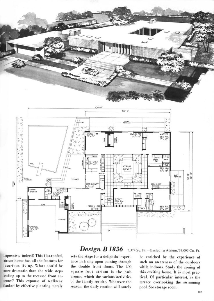 Vintage House Plans Houses Modern Home Planner Mid Century Bed Ranch Dream
