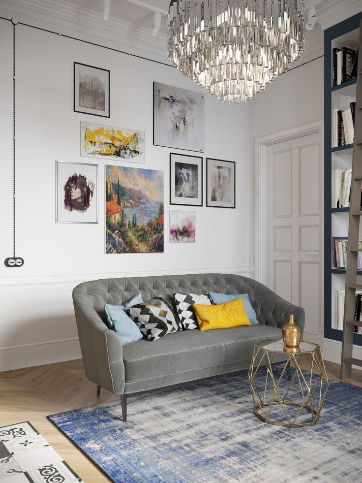 дизайн гостиной с высокими потолками