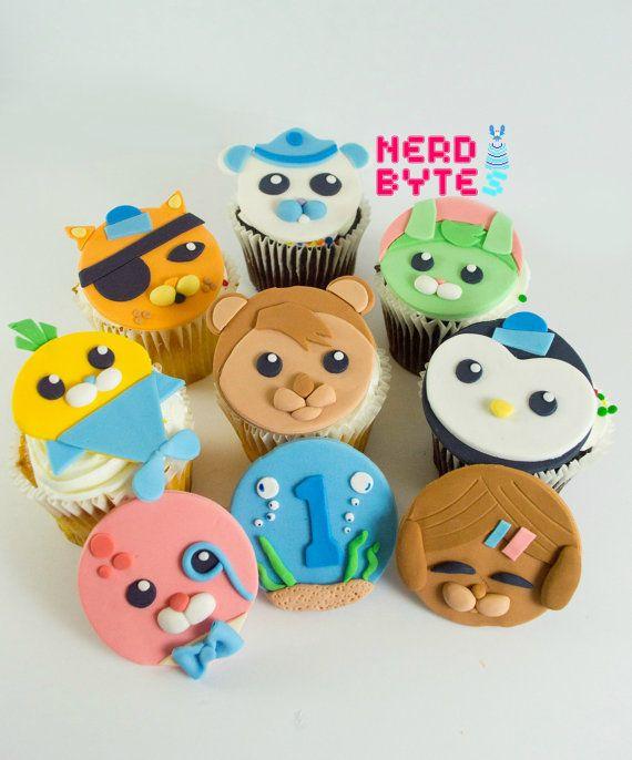 12 Edible Octonauts Fondant Cupcake Toppers by NerdBytes on Etsy