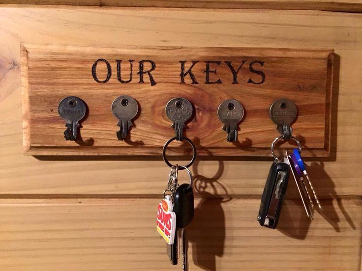 Key rack using old keys bent into hooks