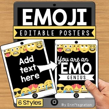 Emoji poster templates to use for posters, class rules, binders, or any classroom decor needs.  These 6 styles are editable in PowerPoint using your own fonts to customize them as you see fit for your classroom..zip file includes: Editable ppt. with 6 styles to customize.