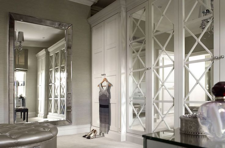 Elegant closet design with gray grasscloth wallpapered ...