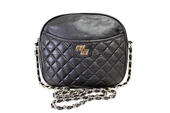 Black Leather Quilted Shoulder Bag Vintage by KMalinkaVintage,