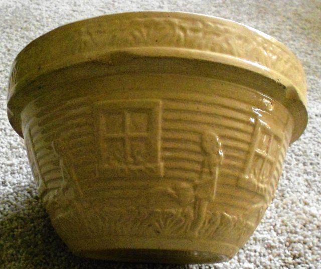 Antique McCoy Pottery Butterscotch Yellow Ware Mixing Bowl Showing Girl  With Watering Can U0026 Garden