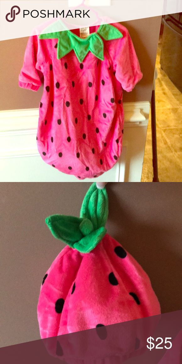 Strawberry costume! Very warm halloween costume! Worn once! Also has a cute hat! Costumes Halloween