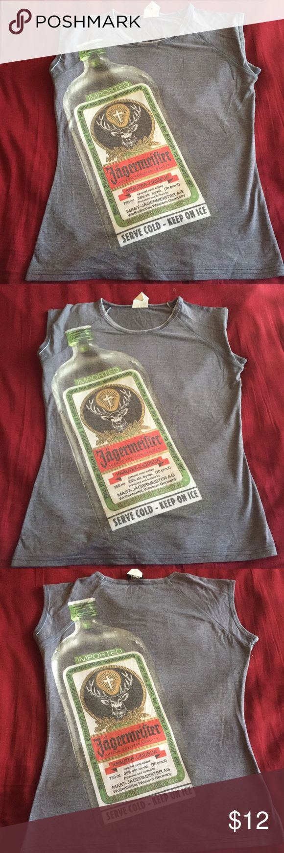 Jagermeister Top Woman's gray NWOT jäger fitted shirt. Size large 94% polyester 6% spandex Jagermeister  Tops Tees - Short Sleeve
