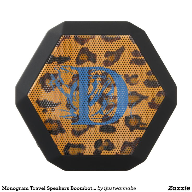 Monogram Travel Speakers Boombot REX Leopard Print Monogram Portable Travel Speakers by Boombot REX. Black exterior, Monogram Blue against original art Leopard Print background, hot look right now. Fast shipping Worldwide. Own this chic Monogram Portable Travel Speakers Boombot REX with great sound TODAY!. Wonderful for fun Trips, Outings, Holidays and at Home! Classic Leopard Print always matches every decor, traditional or modern. Personalize WITH YOUR INITIALS, automatically $89.49
