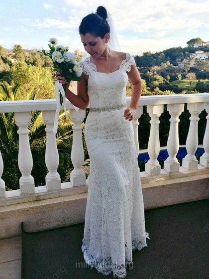 Sweetheart Straps with Beading Open Back Ivory Lace Trumpet/Mermaid Wedding Dresses $238.99