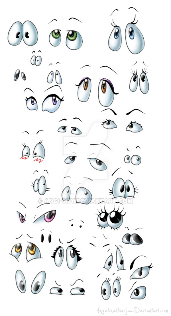 Cartoon (NOT ANIME) eyes! I looked for some pictures with types of cartoon eyes, but i found only picture with Anime eyes, so i though it would be good idea to create some picture with cartoon eyes...